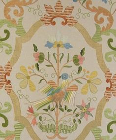 Embroidery of Castelo Branco , Portugal . Jacobean Embroidery, Embroidery Patterns, Portuguese Culture, Embroidered Bird, My Heritage, Needlework, Knit Crochet, Applique, Arts And Crafts