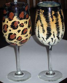 1 Animal print wine glass by somanysigns on Etsy