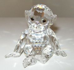 "Amazon.com - Authentic Swarovski Crystal Figurine: 2"" Chimpanzee - Collectible No.221625 Made in Austria - Small Swarovski Crystals Figurine..."