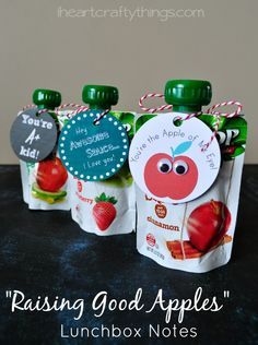 Show your kids you think they're good apples with these fun lunchbox notes from iheartcraftythings.com.
