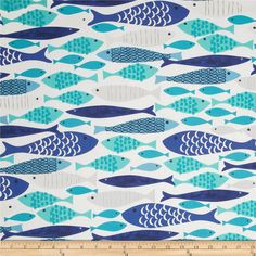 Michael Miller Lagoon Mod Fish Blue from @fabricdotcom  Designed for Michael Miller Fabrics, this cotton print fabric is perfect for quilting, craft projects, apparel and home décor accents. Colors include grey, cobalt, turquoise and aqua on a white background.