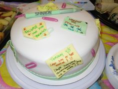 Farewell cake for a coworker... fondant post it notes, pen and paper clips.... 4/2012