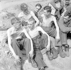 Emaciated former-POWs at Stalag 11B at Fallingbostel, 17 April 1945.