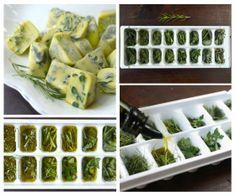 Congelamento de Ervas Frescas. 2.Colocar em bandejas de cubos de gelo (cerca de 2/3 cheio de ervas). 3.Você pode misturar as ervas (sálvia, tomilho, alecrim). 4.Colocar azeite extra-virgem de oliva ou manteiga derretida sem sal sobre as ervas. 5.Cobrir com filme plástico e congelar. 6.Remove os cubos congelados e armazenar em recipientes ou sacos pequenos de congelamento. 8.Etiquetar cada embalagem ou o saco com o tipo de erva (e óleo) dentro! 9. Usar em assados, batatas cozidas, etc