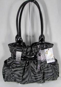 NWT Kathy Van Zeeland Handbag Purse Bag Spotlight III Belt Shopper Zebra Steel