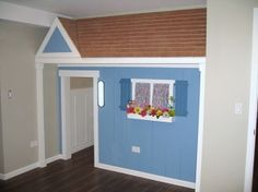 Kids' Playhouse CLoset with Roof Storage. This is an idea. Closet Playhouse, Playroom Closet, Indoor Playhouse, Build A Playhouse, Kid Closet, Playroom Ideas, Playhouse Ideas, Playroom Design, Inside Playhouse