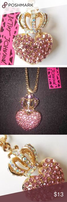 """Beautiful Crystal Betsey Johnson Heart Crown N/L 100% Brand New & High Quality & Classic Designer Beautiful Pink Crystal Heart With Crown- Magnificent Designer Pendant Necklace  - Traditional Gold Tone - Necklace length 70cm (27 """")  - Pendant size: 4x3cm  - Material: Alloy / Rhinestone Betsey Johnson Jewelry Necklaces"""