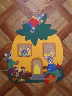 Fensterbilder Tonkarton - Fischer Fensterb.~Familie Maus im Kürbishaus-gebastelt