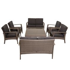 Contemporary style, combined with the ability to re-arrange the individual pieces, makes this Mykonos furniture set. Designed up-to-date with the most modern trends confer style, this set adds comfort and charm to this synthetic patio furniture set.
