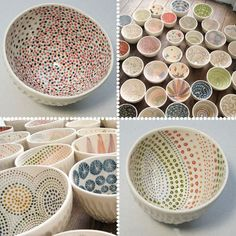Love the pointillism style on these bowls! Easy to create with the round end of a paintbrush. paint your own pottery idea Love the pointillism style on these bowls! Easy to create with the round end of a paintbrush. paint your own pottery idea Dot Painting, Ceramic Painting, Ceramic Art, Ceramics Projects, Clay Projects, Ceramic Bowls, Ceramic Pottery, Painted Pottery, Slab Pottery