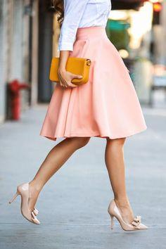 Beautiful skirt and nude heels