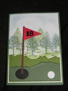 This is a golf card that I made using Stampin' Up! products.  Stamp Set: Lovely as a Tree,
