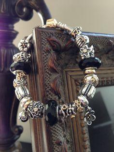 Bracelet Pandora Noir Or/Argent 2tons Black Pandora bracelet Bijoux et charms à retrouver sur www.bijoux-et-charms.fr