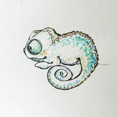 Pequeño camaleón, probando diseños. Little chameleon.  #chameleon #camaleon#infantil  #nursery #adorable #cute #sketch #summer #watercolour #watercolor #acuarela #arte #art #baby #nature #ink #pencil