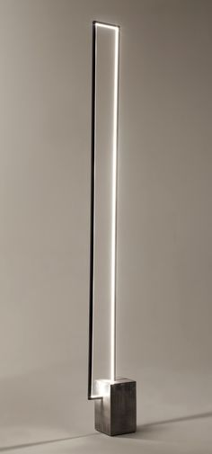 The Mire : a floor lamp with a clear LED light strip inside a rectangular metal frame. LED floor lamp MIRÉ LT - CINIER Radiateurs Contemporains (PSCBath)