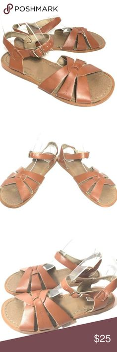 """Salt Water Hoyway Sandals Brown Leather 7 / 9 USA Salt Water Hoyway Sandals  Big Kid's Size 7 / US Women's 9 Brown leather Buckle strap Made in the USA Heel to toe measures about 9.75"""" long  Pre-owned condition showing overall signs of wear, please see all pictures for details Salt Water Sandals by Hoy Shoes Sandals"""