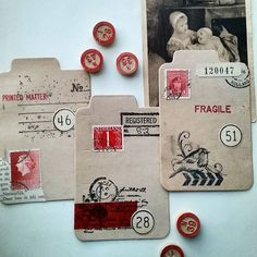 Work in progress. Old document cards for my penpals. Oude papieren document…