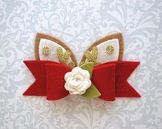 Your place to buy and sell all things handmade Reindeer Ears, Reindeer Headband, Felt Headband, Ribbon Hair Bows, Diy Hair Bows, Christmas Hair Bows, Handmade Hair Bows, Felt Bows, Bow Pattern
