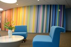 Grand Illusion in NYC paints office murals with colorful stripes in Manhattan office space