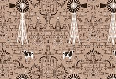 Cow and Windmill | Quagga Fabrics and Wallpapers