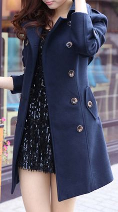 Double-Breasted Navy Peacoat