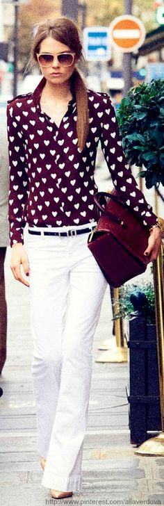 Adorable pattern and I love the deep burgundy color paired with the white pants. Caroline Brasch Nielsen for Vogue Paris December 2013 / January 2014 Paris Fashion, Girl Fashion, Winter Fashion, Street Fashion, Beautiful Outfits, Cool Outfits, Summer Outfits, Vogue Paris, Trends