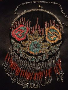 Art Deco Designer Black Embroidered and Beaded Fringed Round Evening Bag