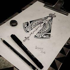 Rascunho que fiz para um cliente meu.  Nossa Senhora Aparecida em maori. Desenho  criado  por mim!#tattoocaldara ...