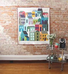 """Home in the Hood"" Rows of Houses Neighborhood Quilt - Custom Quilts by Stitched"