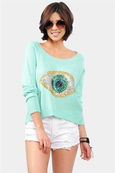 Evil Eye Sweater - Mint See the reair of PDA tonight 8pm on Ch14 or check out msgvarsity.com/PDA