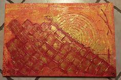 abstrait relief or,rouge et orange 40x50