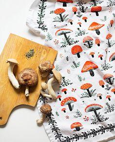 Champignon TeaTowel 100 % coton 20  x 30  vient dans par MirDinara