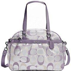 New Authentic COACH Signature 3 Color Lilac Addison Baby Diaper Bag 18376 w/COACH Receipt
