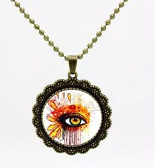 Artistic Eye Necklace Love this piece! Antique bronze chain and frame. Glass cabochon pendant. Glass and chain necklace Jewelry Necklaces