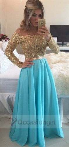 2016 prom dresses, gold long sleeves prom dresses, blue long chiffon prom dresses, evening dresses
