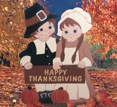 Thanksgiving Pilgrim Greeting Couple Wood Yard Art. $55.00, via Etsy.