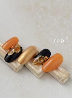 ハニカム構造 の画像|菅沼桃華のネイルとアートとときどきスピリチュアル Orange Nail Art, Orange Nails, Edgy Nails, Gold Nails, Cute Acrylic Nails, Gel Nail Art, Simple Nail Designs, Nail Art Designs, Korea Nail Art