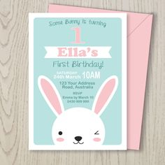 Bunny Rabbit Woodland Party Invitation for kids party, 1st 2nd 3rd 4th 5th girl birthday or Easter - pdf printable - pink, aqua, white by LouandGrace on Etsy