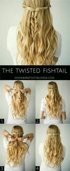 The Twisted Fishtail Hair Tutorial - Barefoot Blonde Waves in 15 minutes! Section hair into big sections then braid each in a loose braid. Run a flatiron over each braid, let them cool down, spra (Minutes Hairstyles Easy Hair) Coiffure Hair, Diy Wedding Hair, Trendy Wedding, Elegant Wedding, Wedding Makeup, Hairstyle Wedding, Easy Wedding Hairstyles, Bridal Hairstyles, Party Wedding