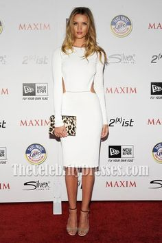 f8cf31900ca Rosie Huntington-Whiteley White Cocktail Party Dress 2011 Maxim Hot 100  Party - TheCelebrityDresses Cutout