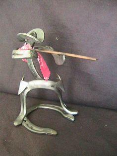 "Western Metal Art 9"" Horseshoe Sculpture Cowboy Hunter | eBay"