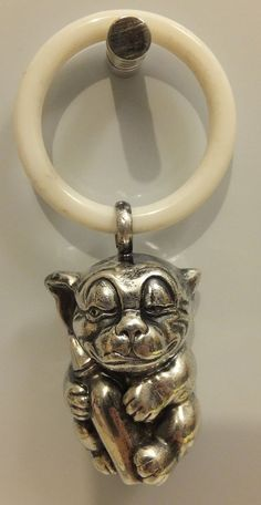 1920's BONZO DOG Original SILVER BABY RATTLE w/ Teething Ring DECO Studdy NICE!