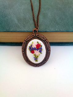 Bouquet jewelry Embroidery necklace Flower pendant necklace Floral jewelry Boho…
