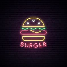 Logo for burger shop Vector Chalkboard Wallpaper, Burger Icon, Pink Panter, Neon Box, Happy Birthday Quotes For Friends, Yearbook Covers, Neon Design, Neon Aesthetic, Cute Funny Babies
