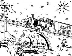 Printable Christmas Coloring Pages For Kids Snowmen Thomas Train