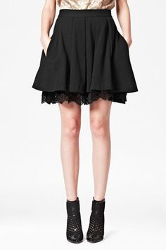 French Connection Kelby Lace Trim Skirt