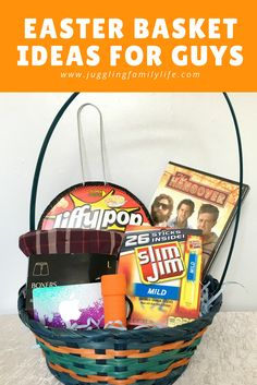Putting together an Easter basket for a guy is not hard. Check out my Easter basket ideas for guys to get you started. via @dianenassy #SlimJimBoldBaskets #ad