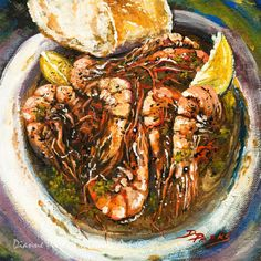 Barbequed Shrimp, Seafood, Pascal Manale's Barbequed Shrimp, Louisiana Seafood, New Orleans Art, Kitchen Gift for Him or Her-FREE SHIPPING!