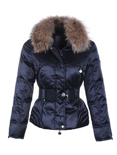 Moncler Fur Collar,Moncler Womens Fur Collar Down Jackets with Belts Blue - $194.65 Moncler Outlet Store www.monclerlines....