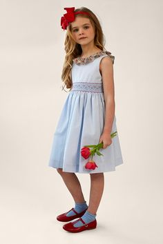 Traditional Hand Smocked Dress with Liberty Frill Collar Cute Little Girl Dresses, Beautiful Little Girls, Little Girl Outfits, Cute Girl Outfits, Toddler Girl Dresses, Cute Dresses, Girls Dresses, Punto Smok, Vintage Kids Clothes